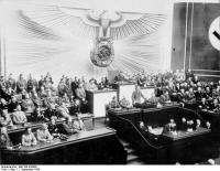 Adolf Hitler addressing the Reichstag announcing the invasion of Poland.