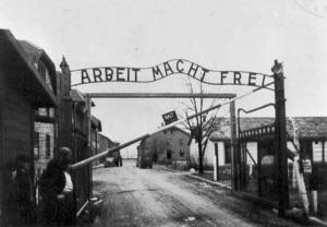 Entrance gate of Auschwitz.