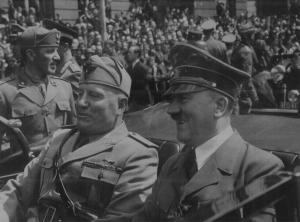 Benito Mussolini and Adolf Hitler.