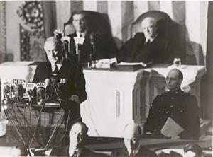 Franklin Delano Roosevelt asks the Congress to declare war to the Axis after the Pearl Harbor attack.