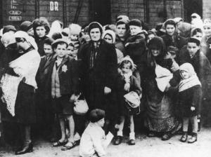 Women and children selected after arriving Auschwitz.