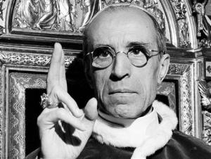 Pope Pius XII proclaiming the dogma of the Assumption of the Virgin Mary.