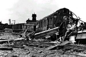 Polish railroads destroyed after german attack during the 'Blitzkrieg'.