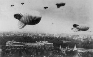Barrage Balloon over London.