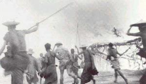 Commandos of 'Sparrow Force' attack a Japanese village on Timor with the support of local natives.