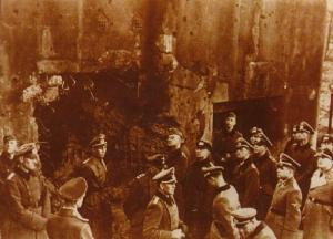 Germans inspect the fort fortress after its conquest.