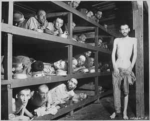 These are slaves laborers in the Buchenwald concentration camp; many had died from malnutrition when the camp were liberated.