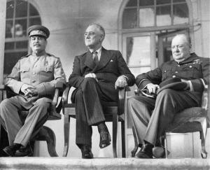 Stalin, Roosevelt and Churchill at the Tehran Conference (russian embassy).