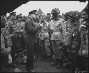 General Dwight D. Eisenhower meeting the troops prior to the Normandy Invasion.