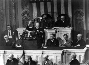 Winston Churchill addressing a joint session of the United States Congress.