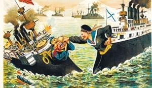 Cartoon on the relationship between Russia and Japan.