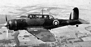 British Blackburn Skua aircraft in flight.