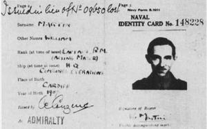 "The fake identity card planted on the body of the ""Man Who Never Was""."