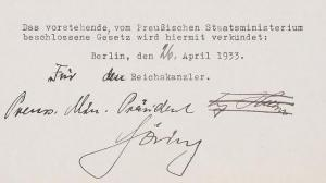 Decree for the creation of the Gestapo with the signature of Adolf Hitler erased and replaced by Goering's signature.