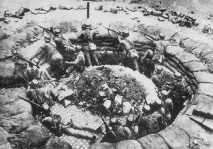 A National Revolutionary Army machine gun nest in Shanghai.