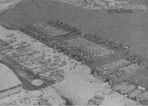 Aerial view of harbor with many landing crafts.