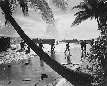 U.S. Marines land on the beaches of Guadalcanal.
