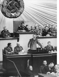 Hitler giving a speech in Reichstag.