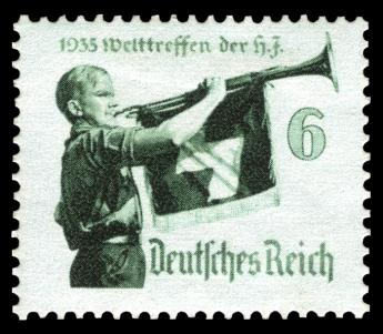Nazi propaganda stamp for the international meeting of the Hitler Youth.