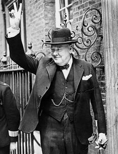Winston Churchill giving the V for Victory.