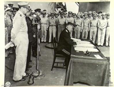 Kuzma Derevyanko signing the Japanese surrender document aboard USS Missouri.