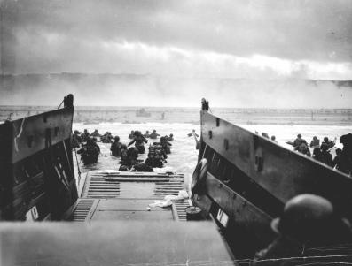 American soldiers wade on D-Day.