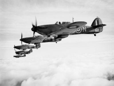 Six British Royal Navy Fleet Air Arm Sea Hurricane aircraft operating from Yeoviton, United Kingdom flying in formation.