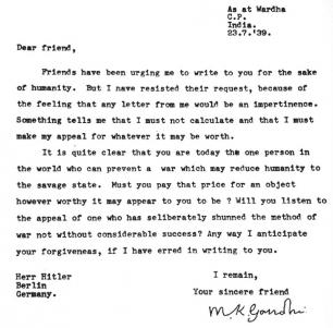 Letter from Gandhi to Hitler with plea for peace.