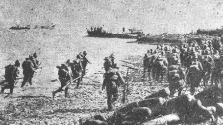Japanese amphibious landings near Shanghai.