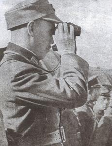 Chiang Kai-shek in the frontlines to raise the morale of his troops.