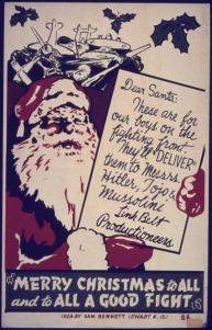 """Merry Christmas to All And to All a Good Fight"" poster."