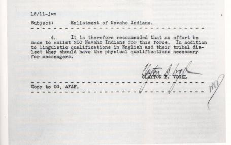 Memorandum regarding the enlistment of Navajo code talkers.