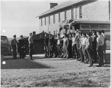 First 29 Navajo U.S. Marine Corps code-talker recruits being sworn in at Fort Wingate.